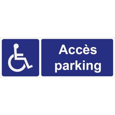Plaque accès parking handicapé, personnes à mob...