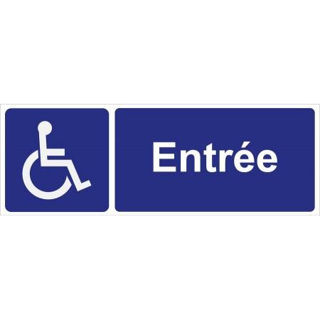 Plaque d'affichage pour entrée aménagée pour fauteuil roulant, disponible en autocollant