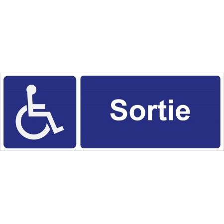 Panneau ou autocollant de signalisation de l'emplacement d'une sortie pour personnes à mobilité réduite