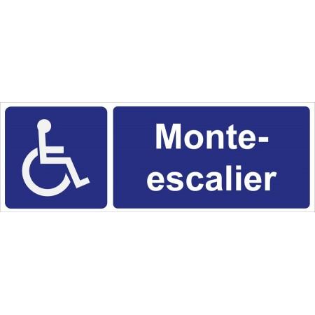 Pictogramme monte escalier pour personne à mobilité réduite, autocollant et plaque