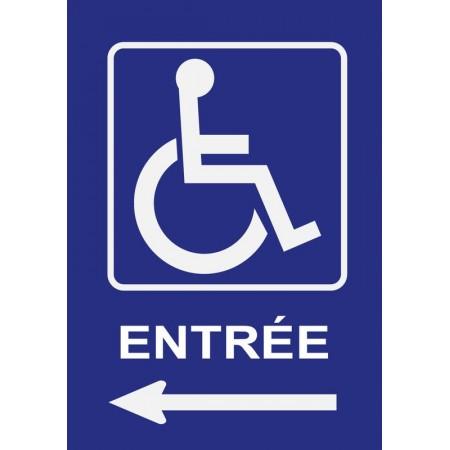 Panneau ou autocollant entrée personnes à mobilité réduite flèche gauche