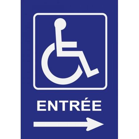 Panneau ou autocollant entrée personnes à mobilité réduite flèche droite