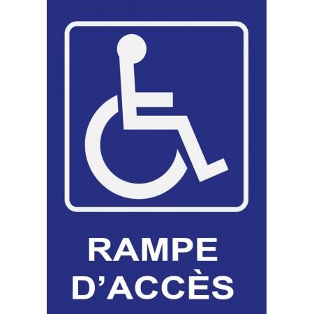 Pictogramme de signalisation d'une rampe d'accès pour personnes à mobilité réduite en panneau ou autocollant
