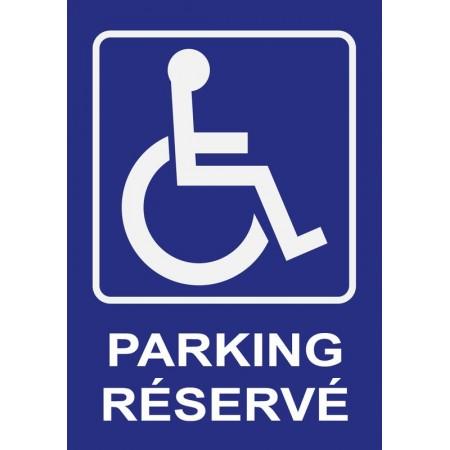 Panneau ou autocollant place de parking réservée pour personnes à mobilité réduite