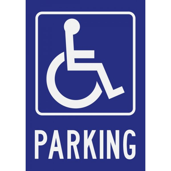 Panneau et autocollant parking handicapé
