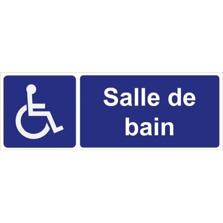 Panneau et autocollant de signalisation de l'emplacement d'une salle de bain pour personnes à mobilité réduite