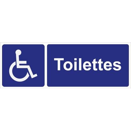 Panneau ou autocollant de signalisation de l'emplacement de toilettes pour personnes à mobilité réduite
