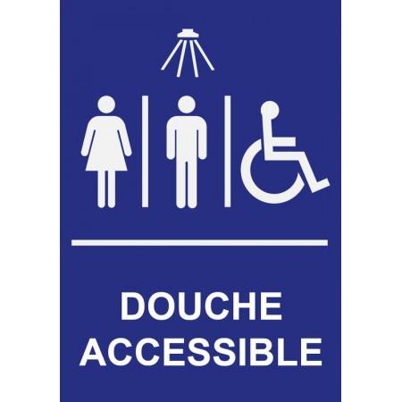 Pictogramme douche accessible pour personnes à mobilité réduite, autocollant et panneau