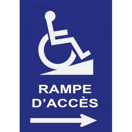 Pictogramme directionnel indication rampe d'accès handicapé flèche droite, plaque et autocollant