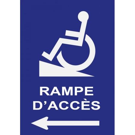 Pictogramme directionnel indication rampe d'accès handicapé flèche gauche, plaque et autocollant
