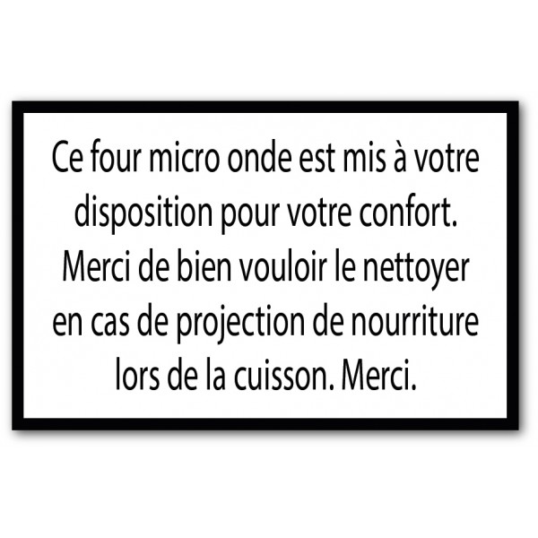 Merci de nettoyer le four micro onde