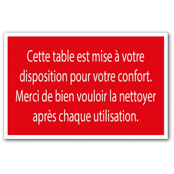 Merci de nettoyer la table
