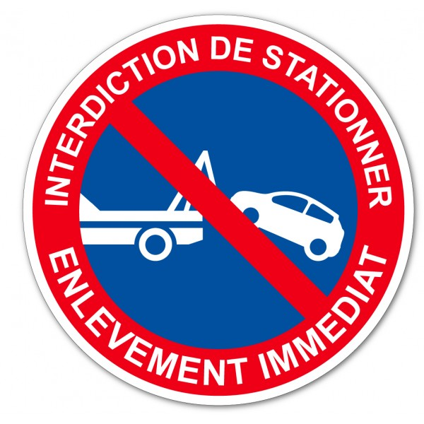 Panneau et autocollant stationnement interdit sous...