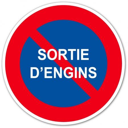 Stationnement interdit sortie d'engins autocollant ou panneau