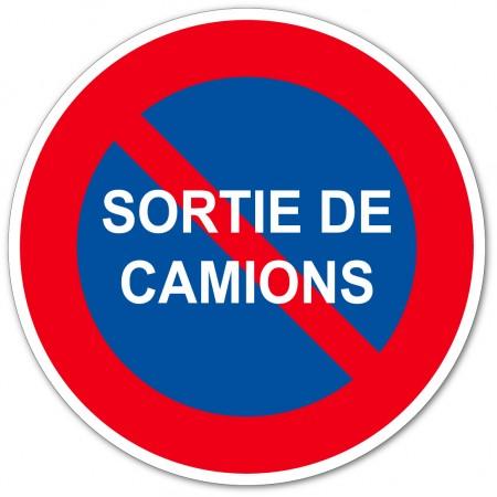 Stationnement interdit sortie de camion disponible en autocollant et panneau