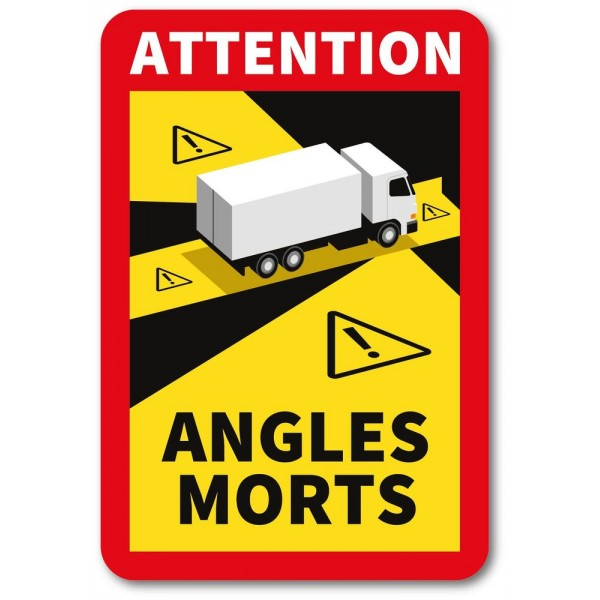 Autocollant attention angles morts poids lourd