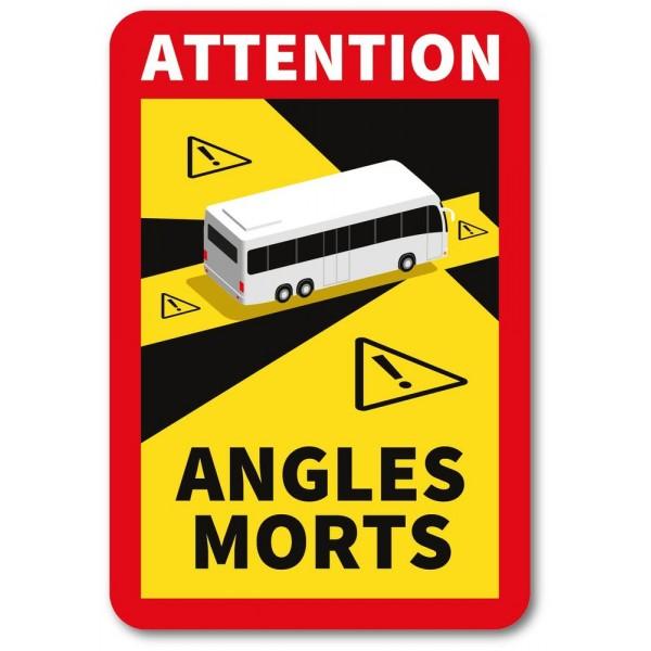 Autocollant attention angles morts bus et car