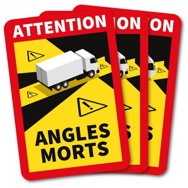 Autocollants attention angles morts poids lourd x3