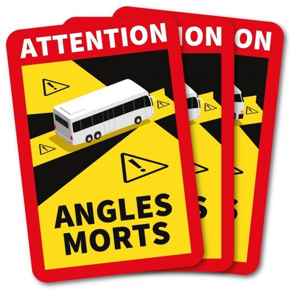 Autocollants attention angles morts car et bus x3