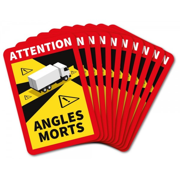 Autocollants attention angles morts poids lourd x1...